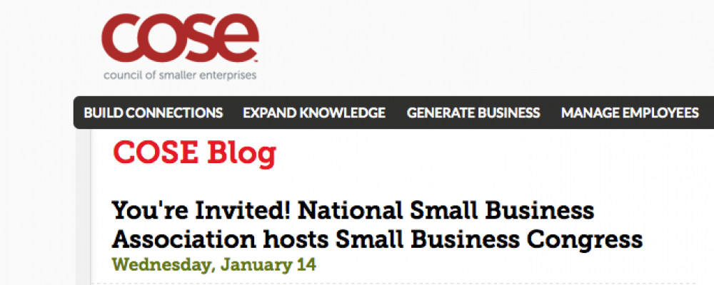 COSE members invited to the National Small Business Association's (NSBA) Small Business Congress
